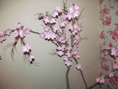 DIY galho com flores de cerejeira