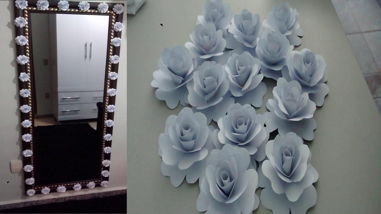 DIY - Fazendo flores de papel e decorando o espelho!