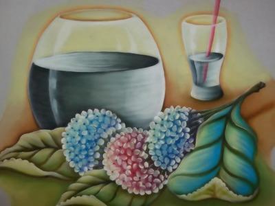 Pintura em Tecido;Hortênsias e Transparência.Parte.:1.3
