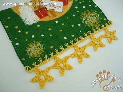 Barrado de Croche Estrelas de Natal - Aprendendo Crochê