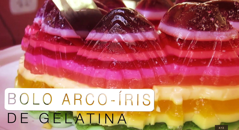 Bolo Arco-Íris de Gelatina (Rainbow Jello Cake) - Confissões de uma Doceira Amadora