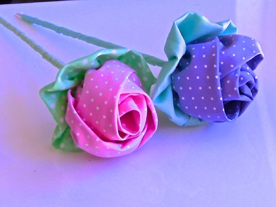 Botao de Rosa em Tecido- Passo a Passo -tutorial HOW TO MAKE ROLLED RIBBON ROSES- fabric flowers