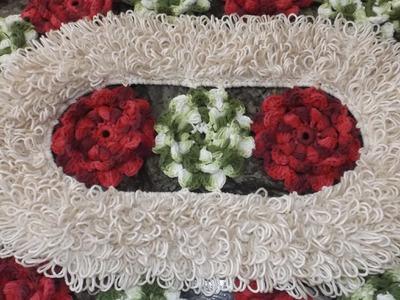 Como executar o ponto Argola e a união das flores do tapete Flores de Jardim Parte 2.3