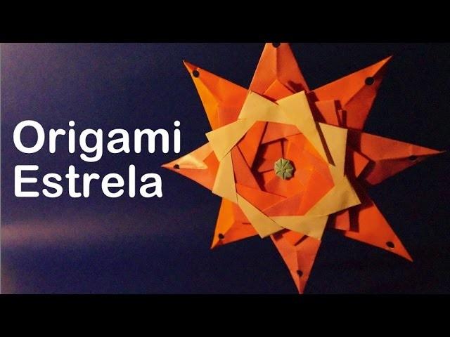 Como Fazer uma Estrela de papel Origami, Dobradura papiroflexia how to make a star