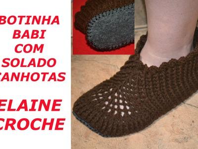 CROCHE PARA CANHOTOS - LEFT HANDED CROCHET - BOTINHA BABI EM CROCHE COM SOLADO - CANHOTAS