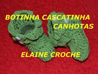 CROCHE PARA CANHOTOS - LEFT HANDED CROCHET - BOTINHA BEBÊ CASCATINHA OU PONTO CROCODILO CANHOTAS