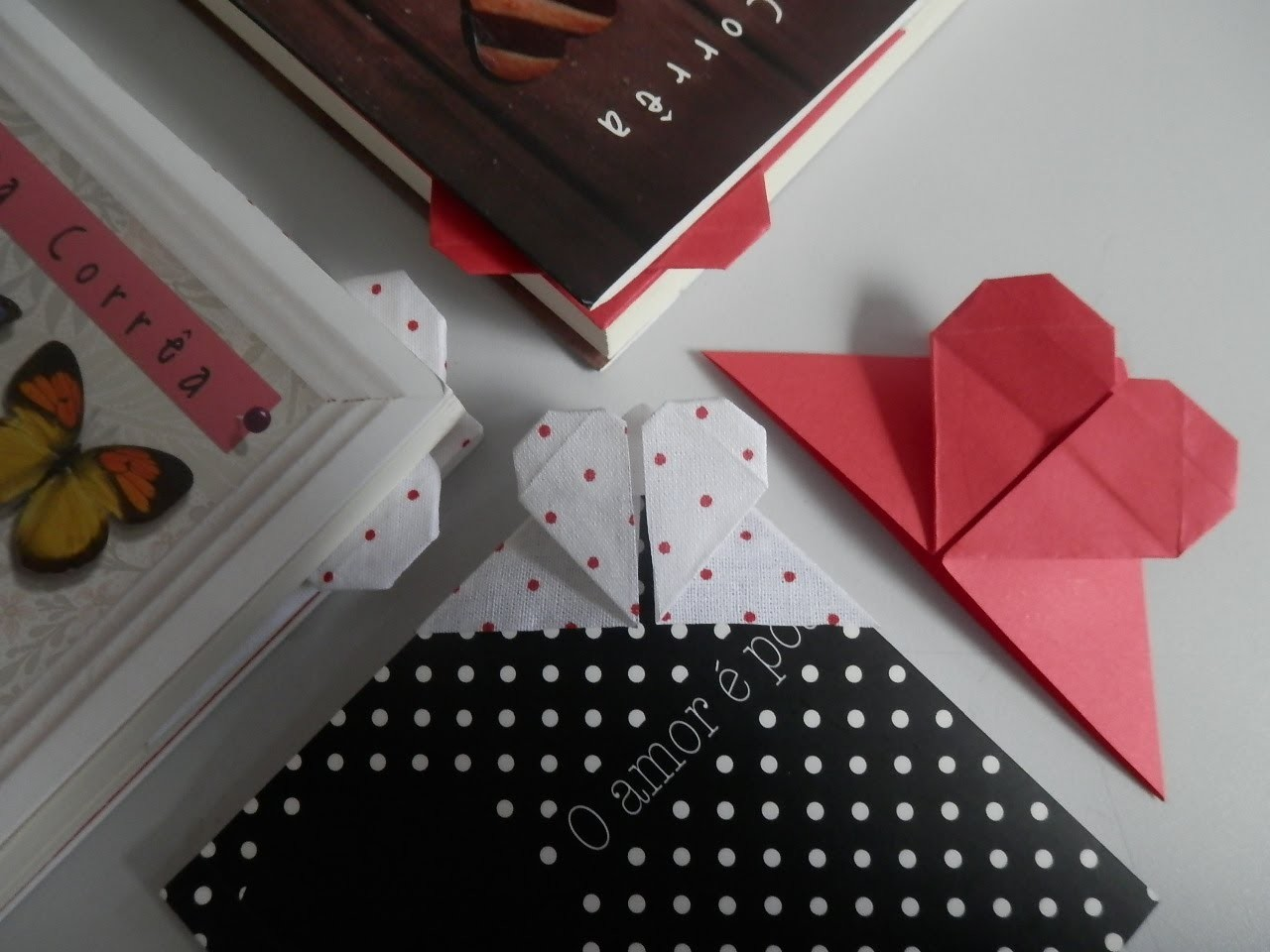Marca página coração 2 - Origami em tecido - Orinuno