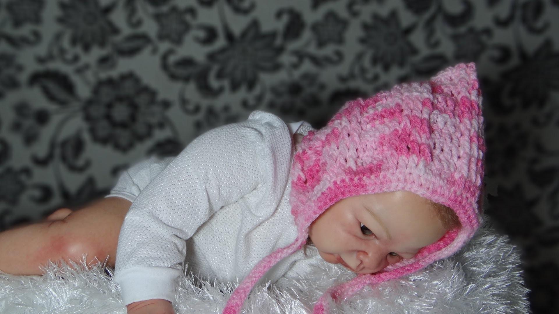 Touca em crochê  para Bebê modelo Retro parte-1