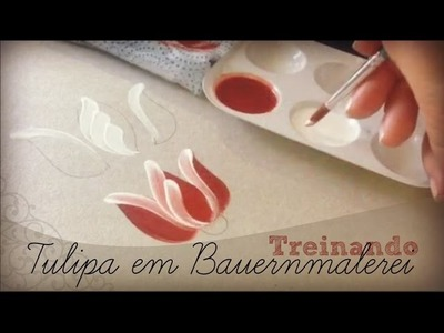 Treinando as pinceladas da Tulipa - Bauernmalerei