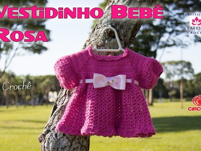 Vestido Crochê Bebê Rosa - Tamanho 1 a 3 meses - Professora Simone