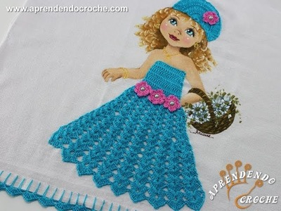 Vestido de Croche p. Aplicação - Boneca Patricia - Aprendendo Crochê