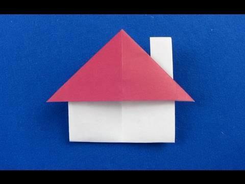 Casetta origami con cappa del  camino ,house origami , 折纸