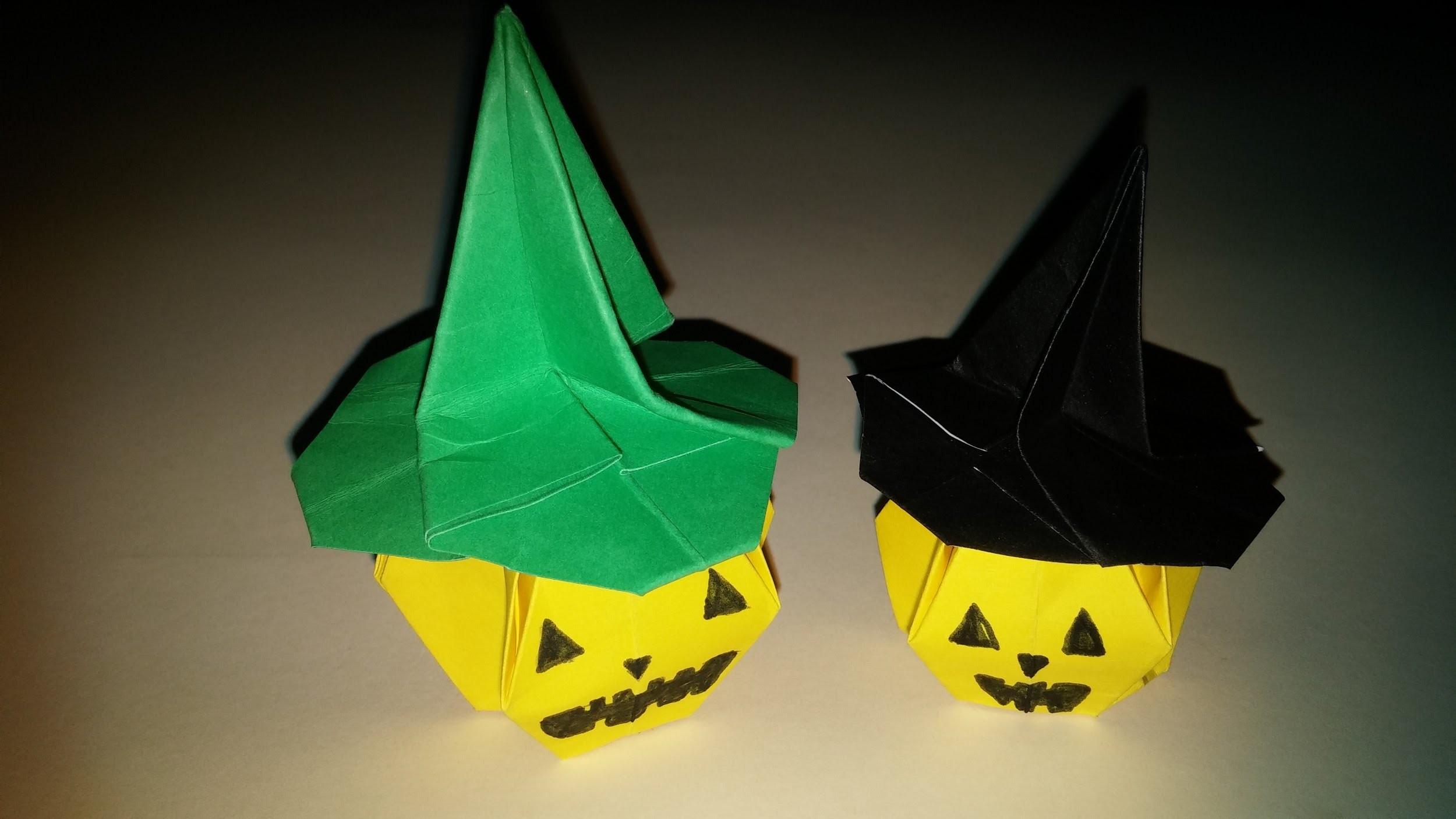 Chapéu de bruxa e abóbora de Halloween Origami - DIY- Origami pumpkin and hat