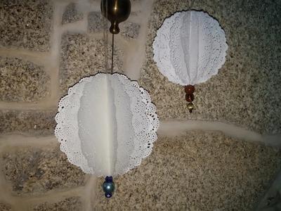 Como fazer enfeite de papel rendado - DIY - Paper doily ornament