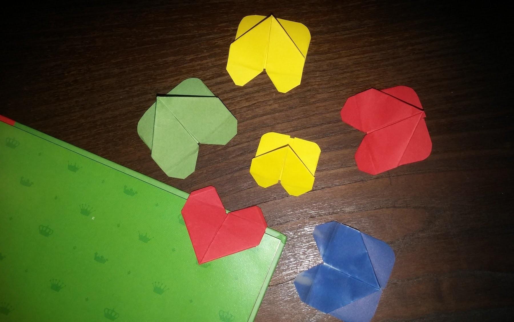 Marcador de páginas origami em coração - DIY - Bookmark pages origami heart-shaped