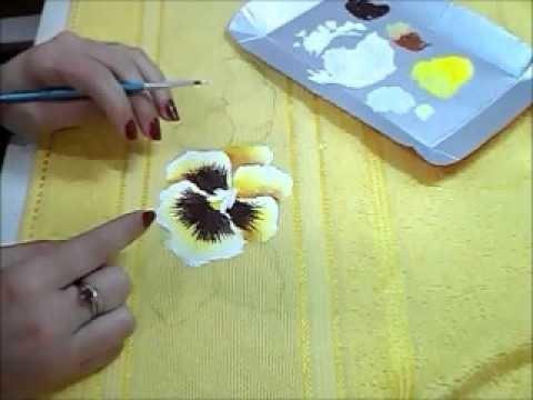 Pintura em Tecido - Amor Perfeito - How to paint pansy