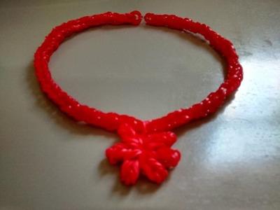 ♥ Colar. Gargantilha de Elástico ♥  Como fazer Pulseiras de elástico  Rainbow Loom  (sem tear) ♥