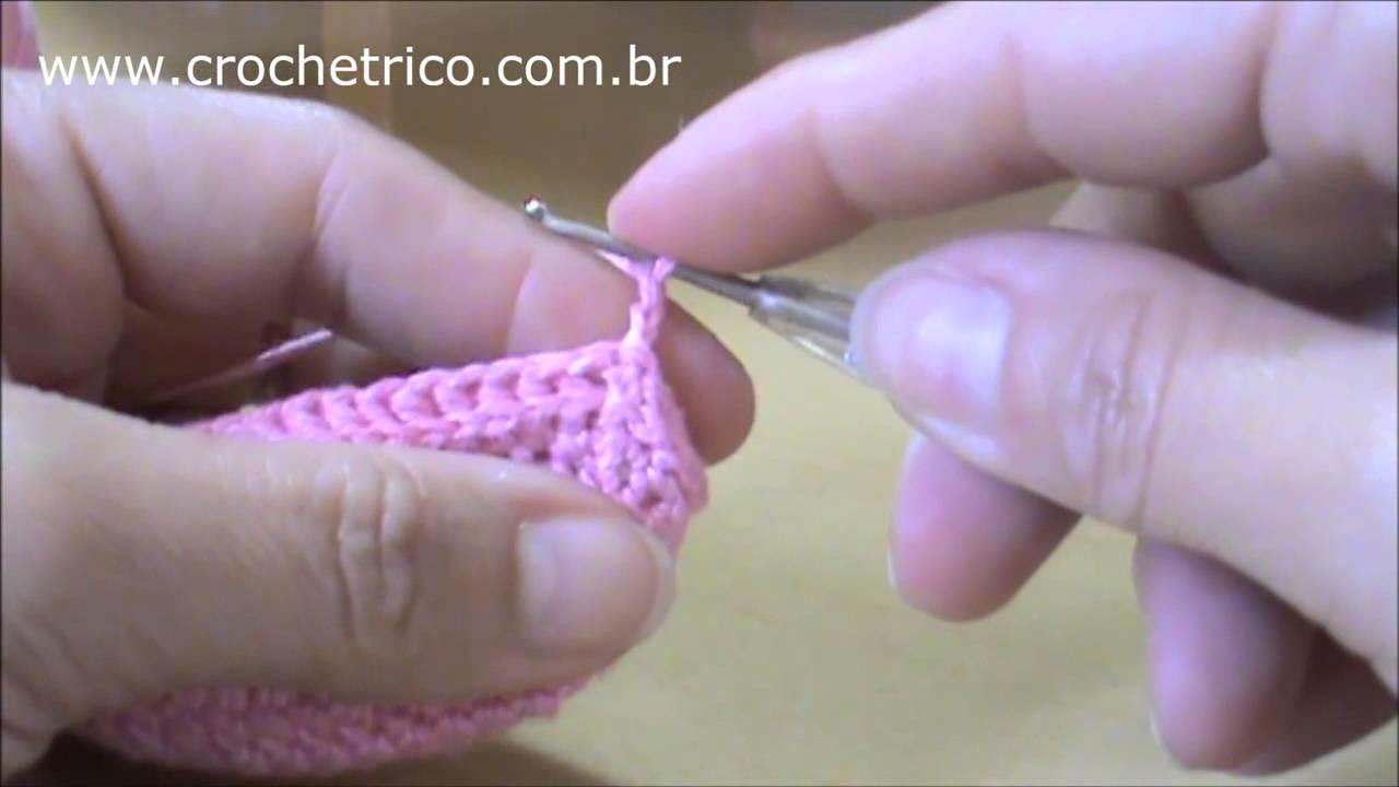 Crochê - Sapatinhos Amor Perfeito (Recém Nascido) - Parte 03.06
