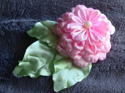 Flor de fitas de cetim  Passo a Passo- HOW TO MAKE ROLLED RIBBON ROSES- fabric flowers