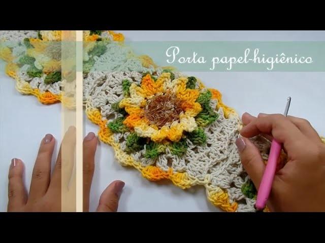 Passo a Passo Jogo de Banheiro Mega Girassol Barroco Porta papel-higiênico por JNY Crochê