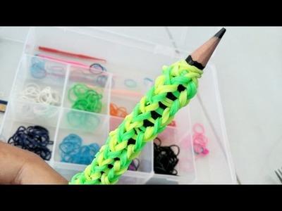 Como fazer - Pegador de lápis com elásticos (LOOM BANDS) sem tear