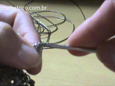 Crochê Irlandês - Bolero Cordonê - Motivo 4 - Borboleta em Crochê de Grampo - Parte 03.03