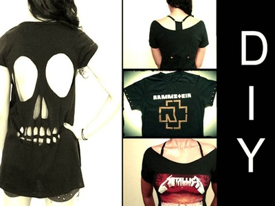DIY: 3 Ideias de Como Customizar Camisetas de Banda (Skull Cut Out T-shirt)