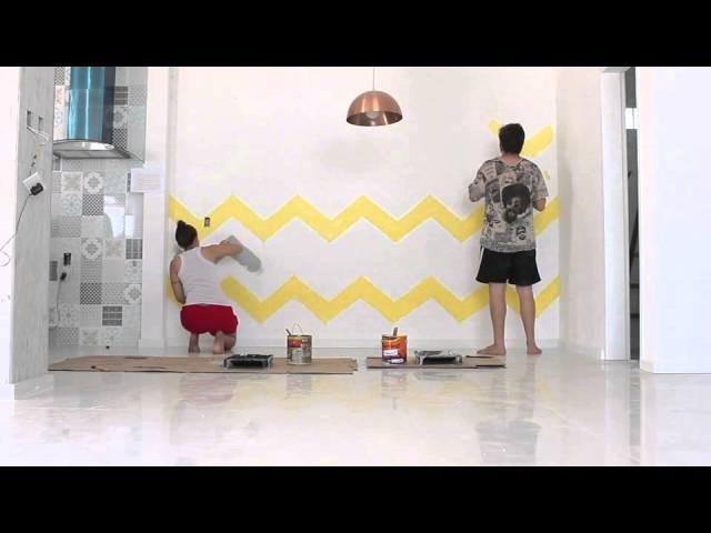 DIY: Fazendo sua própria parede Chevron (zig-zag)
