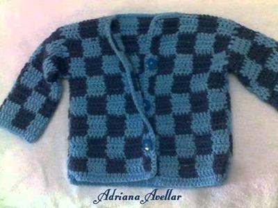 Suéter quadriculado em croche