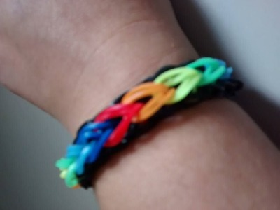 ♥  Como fazer Pulseira de elástico passo a passo   Rainbow Loom  (com tear) ♥
