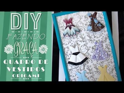 DIY - Quadro de Vestidos (Vestido de Origami) |CINCO GRAÇAS|