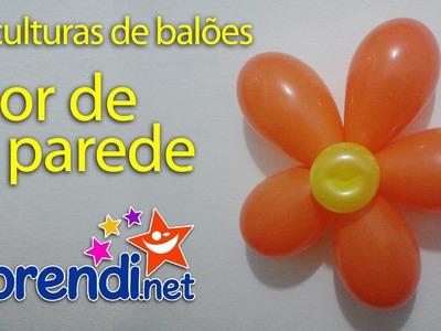 Escultura de Balão (Flor simples de decoração) - Balloon Sculpture (Simple Flower - Wall)