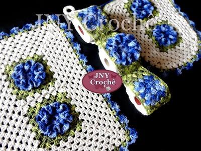 Jogo de banheiro de Crochê Flores Camélias por JNY Crochê