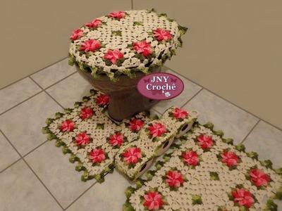 Jogo de Banheiro de Crochê Flores Gerbera Rosa por JNY Crochê