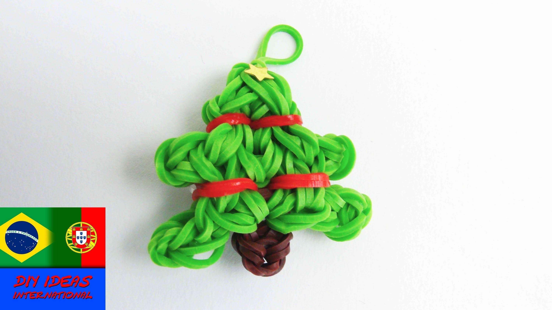Pulseiras de Elastico Christmas Tree Charms elásticos ávore de Natal chaveiro na máquina português