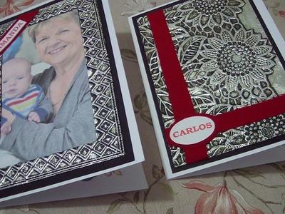 Scrapbook - Cartão de Aniversário  com falsa latonagem