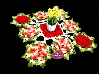 """Caminho de mesa de crochê Flores """"Vermelho"""" JNY Crochê"""