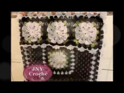 Capa de fogão de crochê com flores JNY Crochê