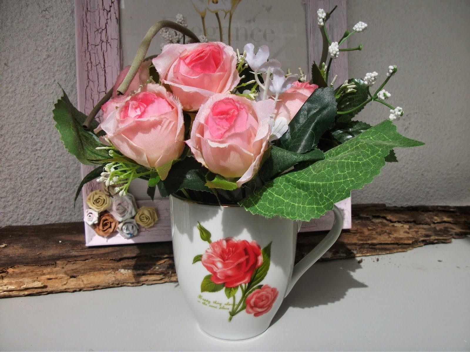 DIY:  Faça voce mesma um lindo arranjo de flores na xicara