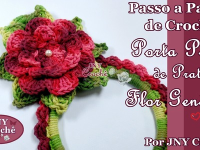 Porta pano de prato de crochê Flor Genèvive por JNY Crochê