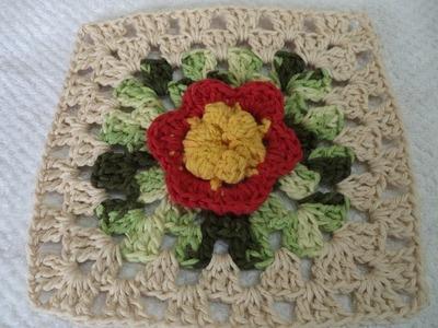 Square em Crochê Nº 2 - Quadrado -Tapete, toalha com a FLOR SOL - Graça Tristão