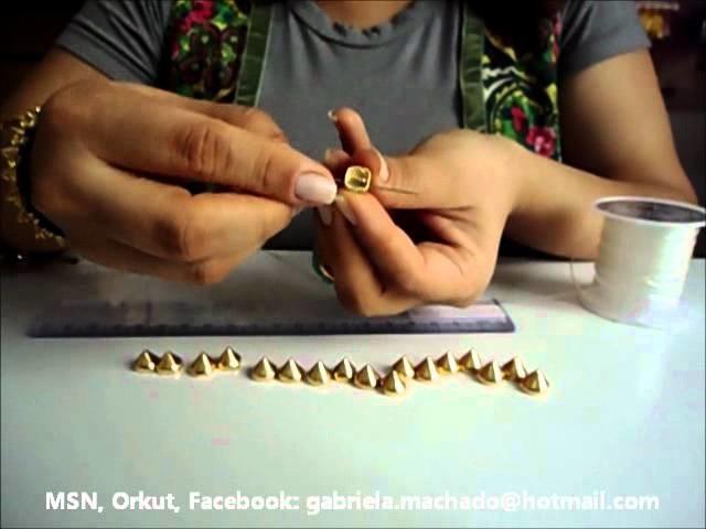 """AnaGGabriela - Vídeo-aula 18 - pulseira """"Spike"""" com silicone"""