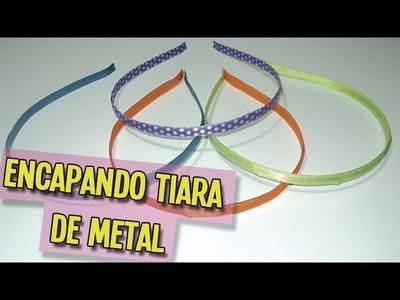 Como encapar tiara de metal | DIY - PAP