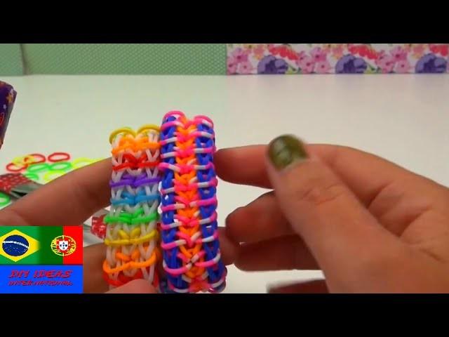 Como fazer pulseira estilo zíper. fecho de correr. Zippy Chain Rainbow Loom Bracelet – Com garfos