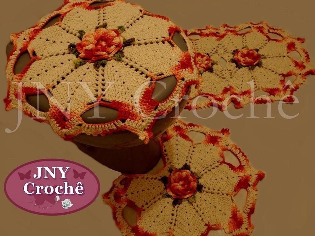 """Jogo de banheiro de crochê """"Flor de Cerejeira"""" por JNY Crochê"""