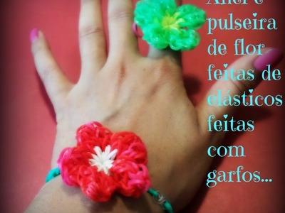 Anel e pulseira de flor de elásticos feitas com garfos.