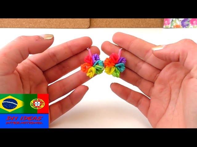 Brincos de elásticos de loom. instruções DIY. loom earrings Tutorial. português