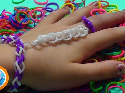Como fazer Pulseira de elástico ligada em anel de elástico. Rainbow Loom Tudo colorido! Pig Boss Toy