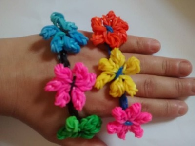 ♥  Como fazer Pulseira Flor  com elástico passo a passo  LoomBands (sem tear) ♥