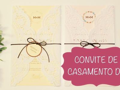 Convite de Casamento com Doilie --- Papel Rendado --- DIY --- Faça Você Mesmo